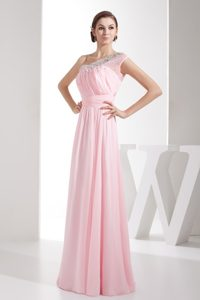 Light Pink Beading One Shoulder Prom Gowns with Ruching