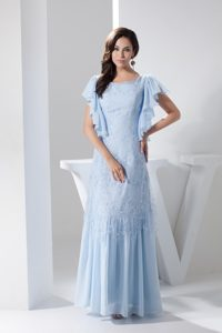 Ruffled Short Sleeves Scoop Prom Dress in Light Blue