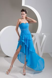 Ruche Beading and Back Cut Prom Dresses with Asymmetrical Hem