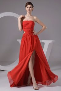 Rust Red High Slit Chiffon 2014 Prom Dress with Cutout Waist