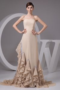 2014 Pleated Ruffles Accent Brush Prom Evening Dress in Wheat