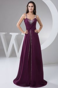 Purple Ruches and Beading for Prom Evening Dress with Brush