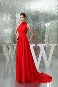 Pretty Chiffon High-neck Red Prom Dress with Court Train