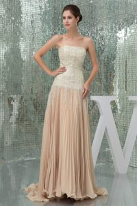 Sequin Strapless Pleated Champagne Prom Cocktail Dress