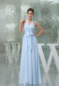 Light Blue Halter Ruched Long Prom Gown Dress with Sash