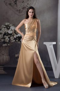 Gold Beading One Shoulder Court Train Prom Evening Dress