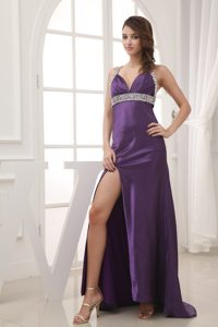 Beaded Halter Top Grad Dresses With Cross Back and Side Slit