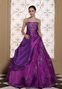 Sleeveless Eggplant Purple Dresses For 15 with Embroidery and Pick-up