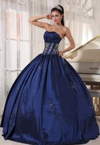 Navy Strapless Floor-length Appliques and Beading Quinceanera Dresses