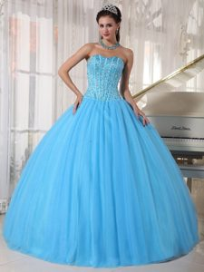 Sweetheart Beading Ball Gown Quinceanera Dress in Sky Blue
