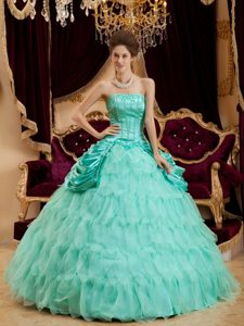 Apple Green Strapless Quinceanera Gown with Ruffles and Beading