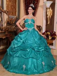 Strapless Floor-length Turquoise Dresses For 15 with Appliques