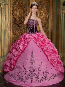 Rose Pink Strapless Embroidery Quinceanera Dress with Pick-ups