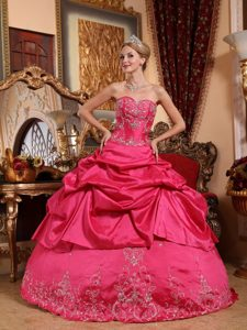 Sweetheart Floor-length Hot Pink Quinceanera Dress with Embroidery and Beading