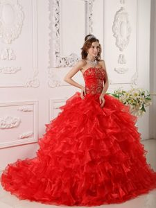 Strapless Red Dress For Quinceanera with Ruffles and Embroidery