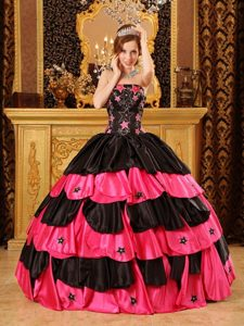 Black and Red Strapless Beading Sweet Sixteen Quinceanera Dresses