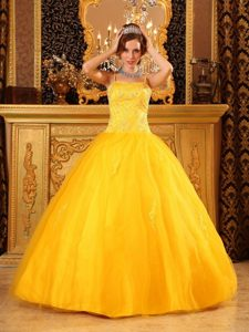 Bright Yellow Spaghetti Straps Floor-length Beading Quinceanera Gowns