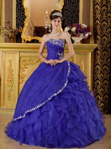 Strapless Floor-length Blue Quinceanera Dresses with Appliques