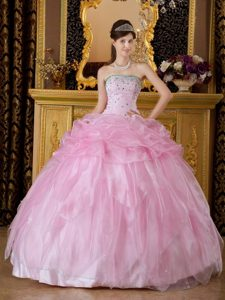 Light Pink Ball Gown Organza Beading Dresses For a Quinceanera