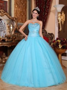 Baby Blue Ball Gown Sweetheart Beading Ruched Quinceanera Dress
