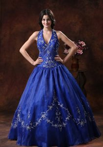 Halter Embroidery Peacock Blue Organza Quinceanera Dresses