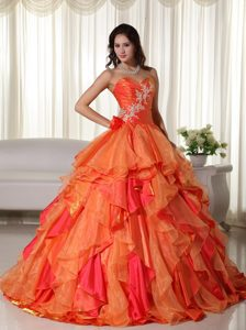 Ruffled Layers Organza Orange Appliques Quinceanera Dresses