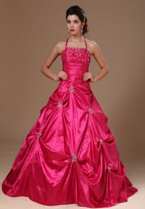 Beading Halter Hot Pink Taffeta Quinceanera Dress with Pick-ups