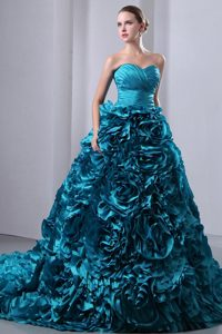 Ruched Teal Hand Made Flowers Brush Train Dresses for Quinceanea