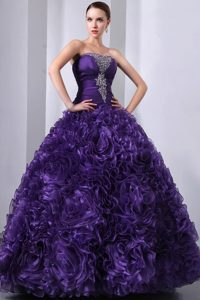 Hand Made Flowers Sweet 15 Quinceanera Dresses with Purple Beading