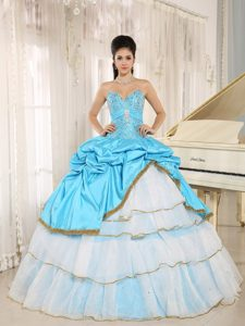 Beaded Ruffles Layered Aqua Blue and White Quinceanera Dresses