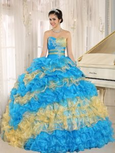Colorful Blue and Yellow Ruffles Beading Quinceanera Dresses