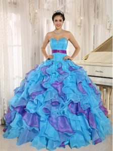 Ruffled Aqua Blue and Purple Appliques Belt Quinceanera Dresses