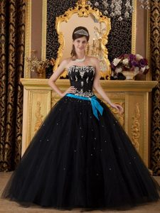 Appliques Black Beading Tulle Quinceanera Dresses with Blue Sash