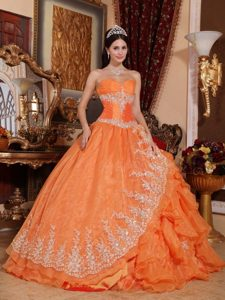 Ruffles Organza Orange Red Appliques Ruching Quinceanera Dress