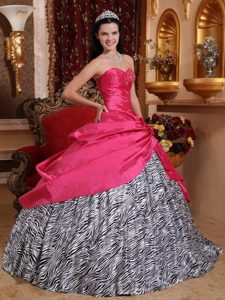 Zebra Hot Pink Beading Hand Made Flowers Quinceanera Dresses