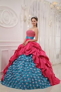 Hand Made Flowers Beading Quinceanera Dresses in Red and Blue
