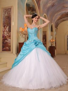 Hand Made Flowers Aqua Blue and White Beading Quinceanera Dress