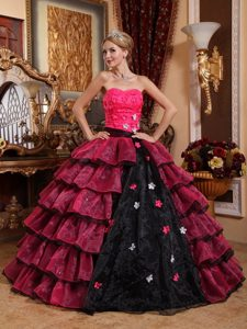 Colorful Tiered Flowers Organza Quinceanera Dress with Appliques