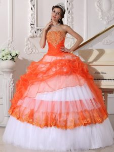 Orange and White Bowknot Appliques Dresses For Sweet Quinceaneras