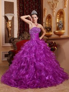 Beading Ruched Ruffles Purple Organza Sweet 16 Dress for Quince