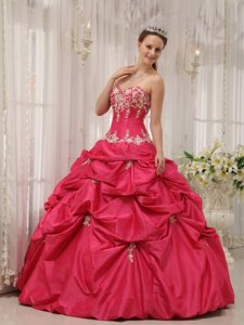 Sweetheart Coral Red Taffeta Pick-ups Sweet 16 Quinceanera Dress
