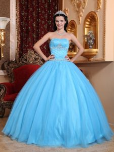 Beading Aqua Blue Sweetheart Appliques Dresses For Quinceaneras