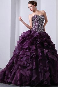 Beaded Purple Organza Ruffles Brush Train Dresses For Quinceanera