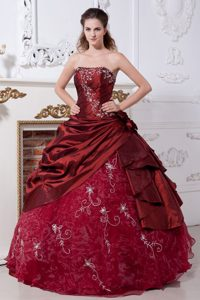 Wine Red Embroidery Hand Made Flowers Quinceanera Dresses Gowns