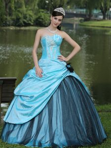 Aqua Blue Beading Sweet 16 Quinceanera Dress with Hand Flowers