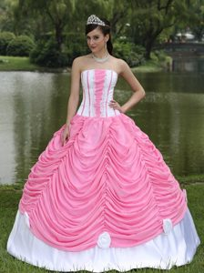 Hand Made Flowers Rose Pink and White Pick-ups Quinceanera Dress
