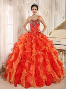 Beading Ruffled Orange Red One Shoulder Quincenera Dresses 2014