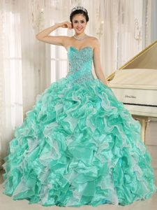 Apple Green and White Beaded Ruffles Sweet 16 Quinceanera Dress