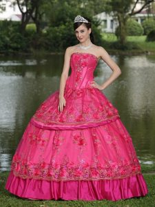 Hot Pink Hand Made Flowers Quinceanera Dress with Appliques
