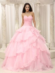 Hand Made Flowers Ruched Sweetheart Beading Layers Quinceanera Dress